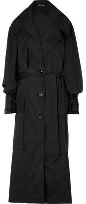 House of Holland Oversized Printed Ripstop Trench Coat - Black