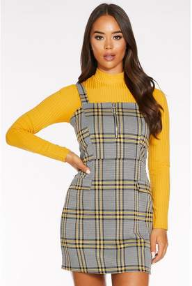 Quiz Black and Yellow Check Zip Front Pinafore Dress