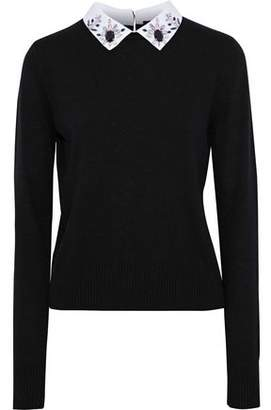 Maje Matin Embellished Poplin-Trimmed Stretch-Knit Sweater