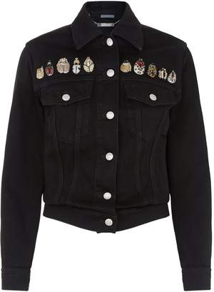 Alexander McQueen Bug Embellished Denim Jacket