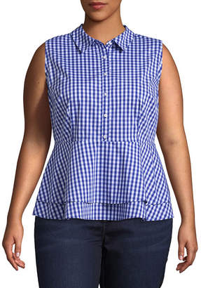 Boutique + + Sleeveless Button Front Peplum Woven Gingham Blouse - Plus