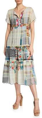 Johnny Was Zakina Split-Neck Short-Sleeve Tiered Multi-Print Georgette Dress
