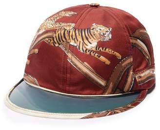 Gucci Tiger Print Silk Cap - Mens - Red Multi 9dded65e4851