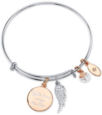 "Unwritten With Brave Wings She Flies"" Adjustable Charm Bangle Bracelet in Rose Gold-Tone & Stainless Steel"