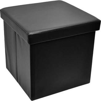 Sorbus Foldable Storage Ottoman, Collapsible/Folding Cube Ottoman with CoverPerfect Hassock, Foot Stool, Seat, Coffee Table, Storage Chest and More, Contemporary Faux Leather (Black)