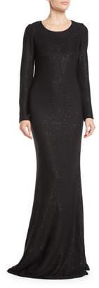 St. John Long-Sleeve Cross-Back Links Sequin Knit Evening Gown
