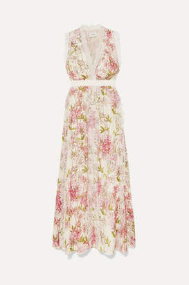 Giambattista Valli Lace-trimmed Floral-print Silk Gown - Ivory