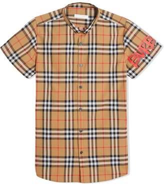 Burberry Short-sleeve Graffiti Print Check Cotton Shirt