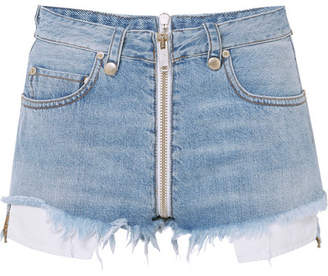 Unravel Project Distressed Denim Shorts - Light denim