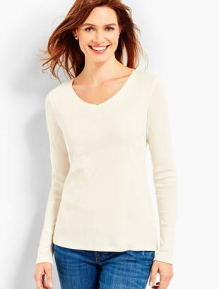 Talbots Pima Cotton Long-Sleeve V-Neck Tee