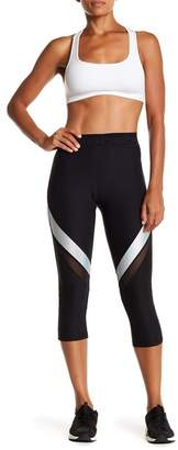 Bebe Metallic & Mesh Inset Capri Leggings
