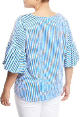 Iconic American Designer Puff-Sleeve Striped Seersucker Blouse, Plus Size