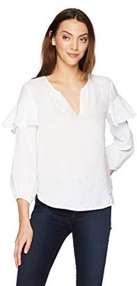 Velvet by Graham & Spencer Women's Tyra Linen Ruffle Longsleeve Top