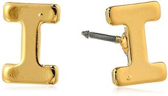 """N. 1928 Jewelry 14k Gold-Dipped""""I"""" Initial Button Stud Earrings"""