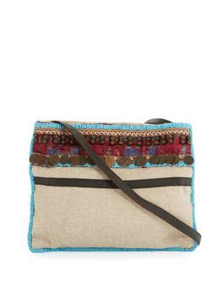 Ale By Alessandra Calista Beaded & Embellished Beach Crossbody Bag, Beige