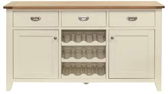 Willis & Gambier Oak Top 'Newquay' Large Sideboard With Wine Rack