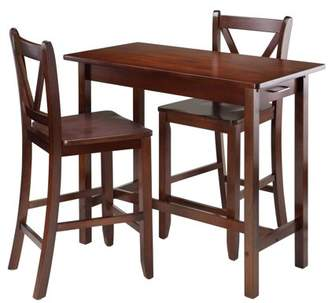 Winsome Sally 3-Pc Breakfast Table Set with 2 V-Back Stool