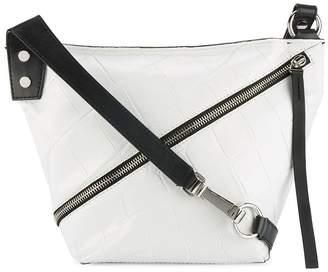 Proenza Schouler White Zip Hobo Croc Leather Shoulder Bag