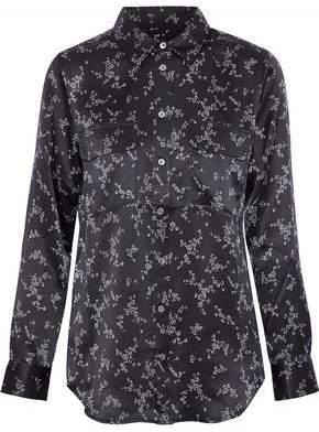 Equipment Slim Signature Floral-Print Silk-Satin Shirt