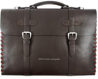 ANCHOR & CREW - Deep Brown Rufford Leather & Rope Briefcase Small