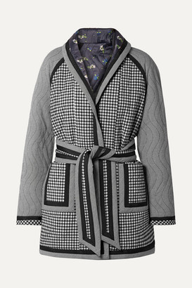 Opening Ceremony Reversible Belted Printed Woven And Satin Coat - Black