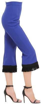 Andrew Gn Fringed Virgin Wool Crepe Pants