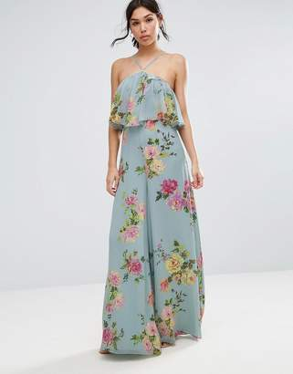 ASOS Jumpsuit in Crinkle with Wide Leg and Halter Neck in Floral Print $73 thestylecure.com