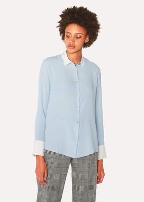 Paul Smith Women's Light Blue Silk-Blend Shirt with Contrasting Details