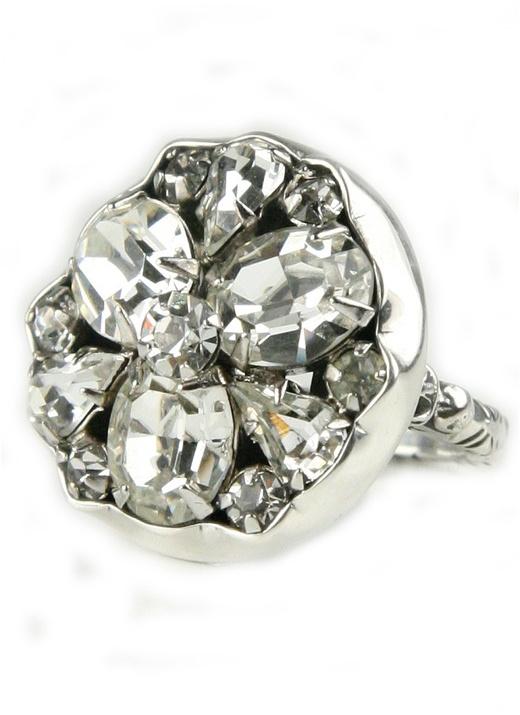 Elizabeth Ngo Ornate Victorian Rhinestone Ring