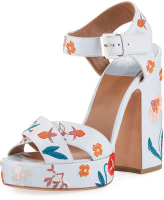 Laurence Dacade Rosange 120mm Embroidered Sandals with Chunky Heel