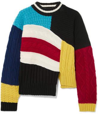 MSGM Maglia Asymmetric Color-block Cable-knit Sweater - Black