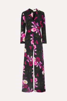 Seren - Exclusive Betty Floral-print Silk Crepe De Chine Jumpsuit - Black