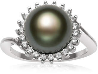 FINE JEWELRY Womens 9.5M Black Cultured Tahitian Pearl Sterling Silver Cocktail Ring