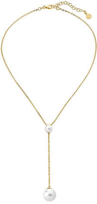 Majorica Two-Pearl Lariat Necklace, Gold