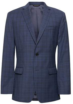 Banana Republic Standard Navy Plaid Italian Wool Suit Jacket