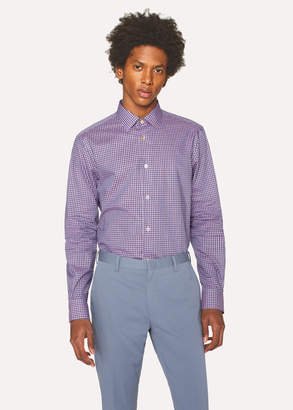Paul Smith Men's Tailored-Fit Purple And Pink Check Cotton Shirt