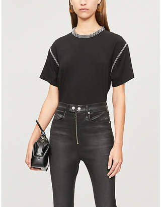 The Kooples Bead-embellished cropped cotton T-shirt