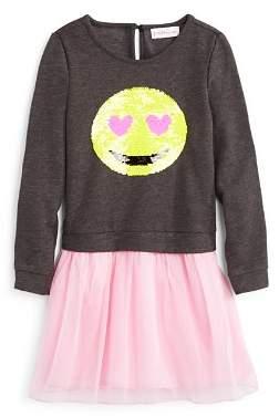 Design History Girls' Sequin Emoji Tutu Dress- Little Kid