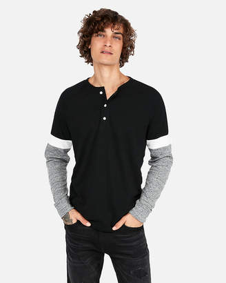 Express Long Sleeve Color Block Stretch Henley
