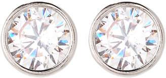 Crislu Platinum Sterling Silver Round-Shaped Stud Earrings