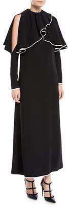 Valentino Cold-Shoulder Ruffle-Neckline Long-Sleeve A-Line Silk Evening Gown
