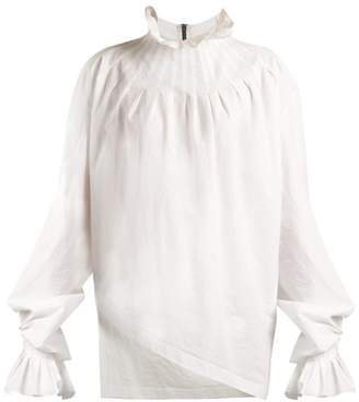 Pleated Neck Cotton Blouse - Womens - White