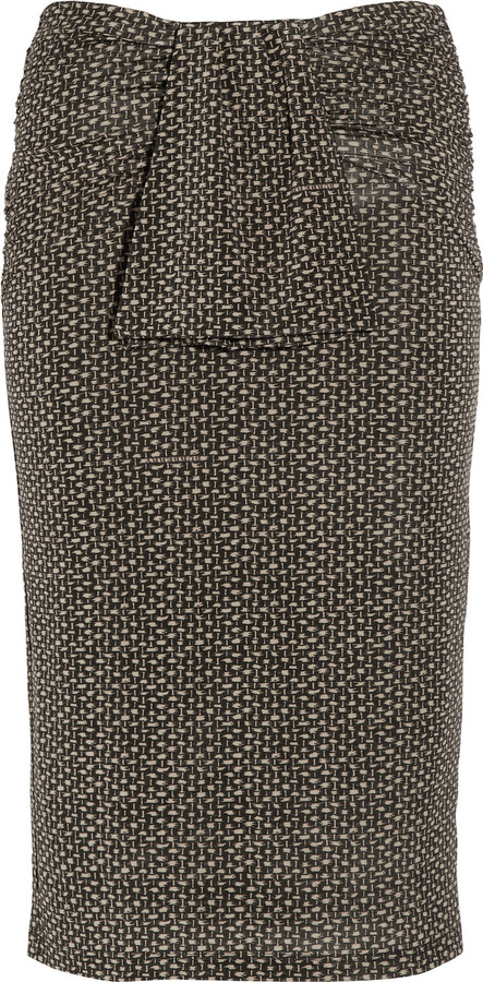 Burberry Raffia-print stretch-jersey pencil skirt