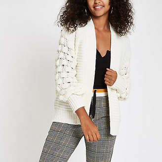 River Island Cream chunky bobble knit cardigan