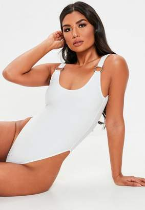 Missguided White Textured Ring High Leg Swimsuit