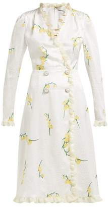 Alessandra Rich - Floral Print Silk Devore Midi Dress - Womens - Yellow Print