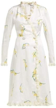 Alessandra Rich Floral Print Silk Devore Midi Dress - Womens - Yellow Print