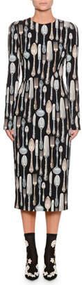 Dolce & Gabbana Long-Sleeve Silverware-Print Sheath Midi Dress