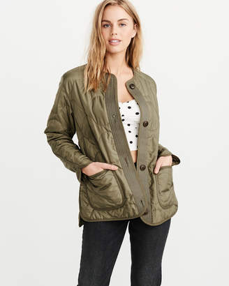 Olive Green Quilted Jacket Shopstyle