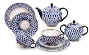 Imperial Porcelain 20-Piece Cobalt Net Porcelain Tea Set